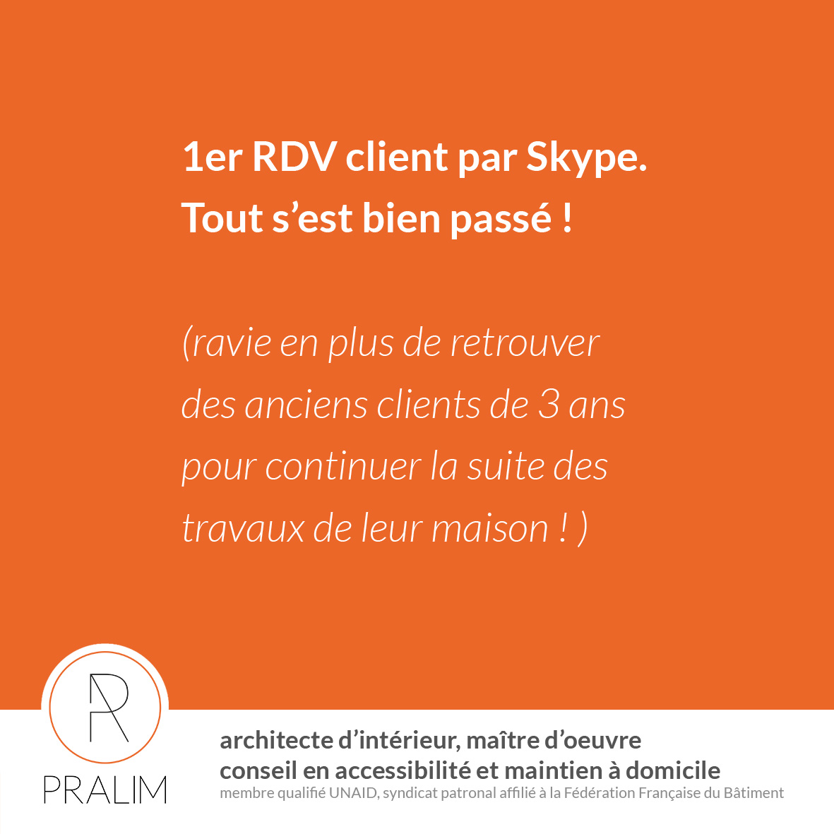 Confinement – 1er RDV Client visioconférence